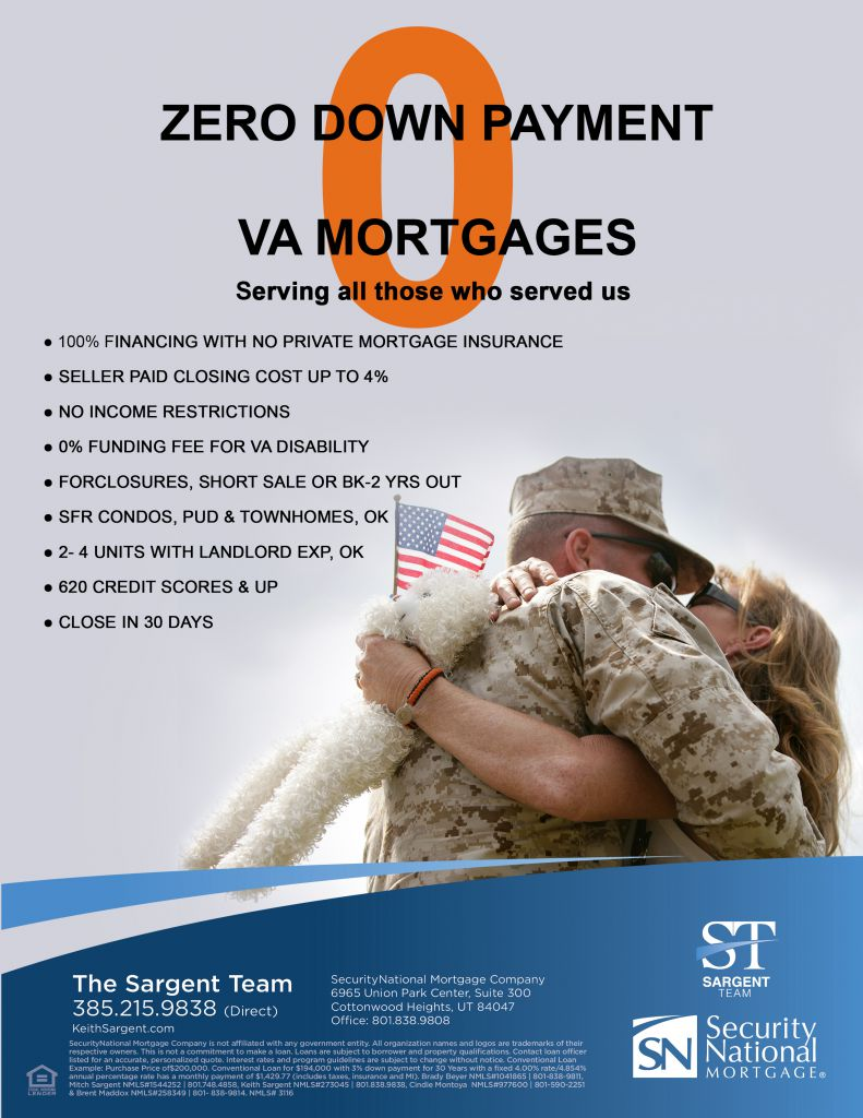VA Mortgages: Serving all those who served us. 100% Financing with no private mortgage insurance. Seller paid closing cost up to 4%. No income restrictions. 0% Funding fee for VA disability. Foreclosures, Short Sale or BK-2 yrs out. SFR Condos, PUD & Townhomes, OK. 2-4 Units with landlord EXP,OK. 620 Credit scores & up. Close in 30 days.